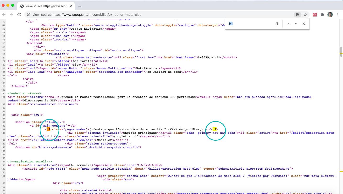 exemple pour recherche les balises H1 dans le code source d'une page