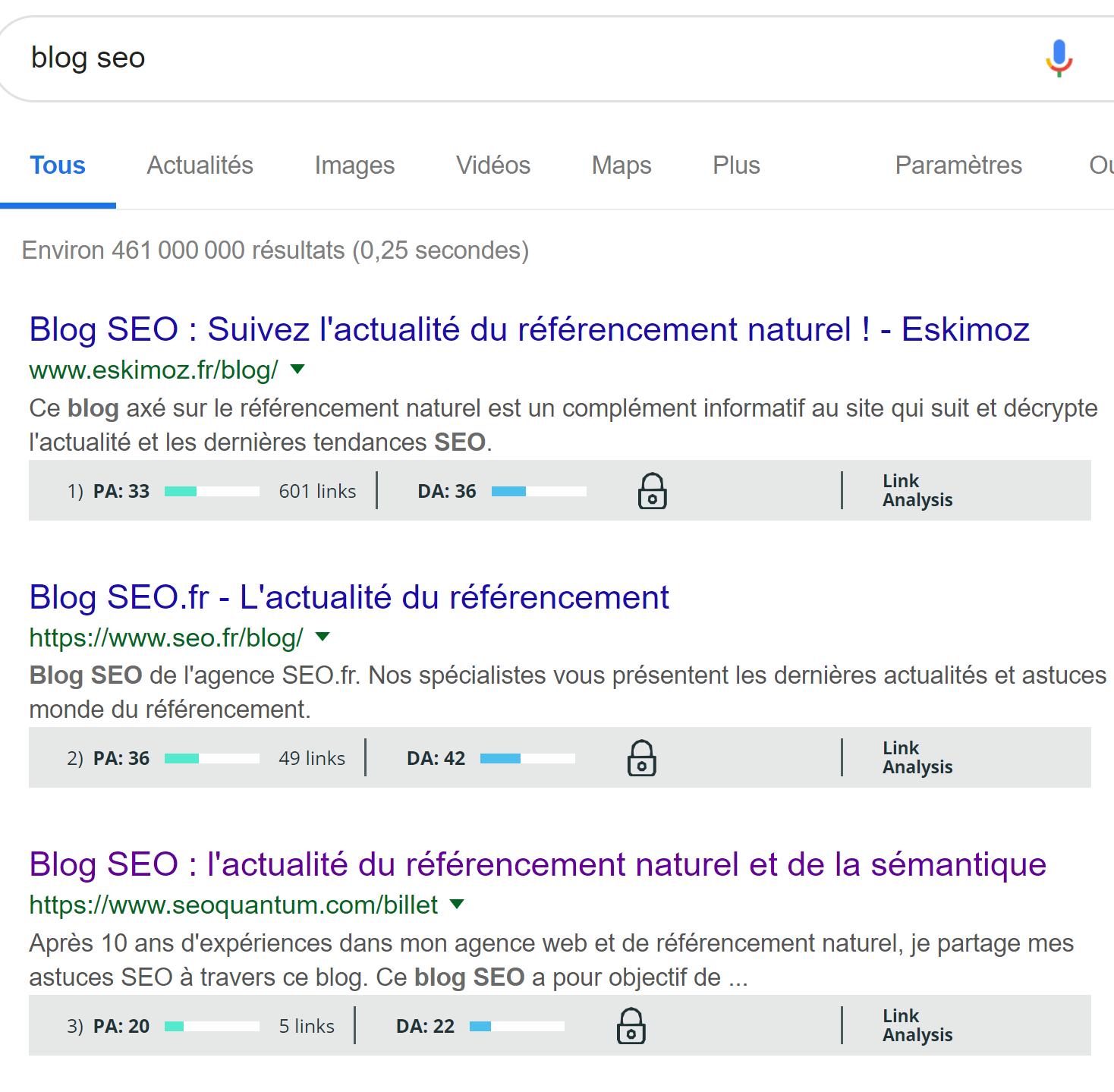 Recherche Google Moz