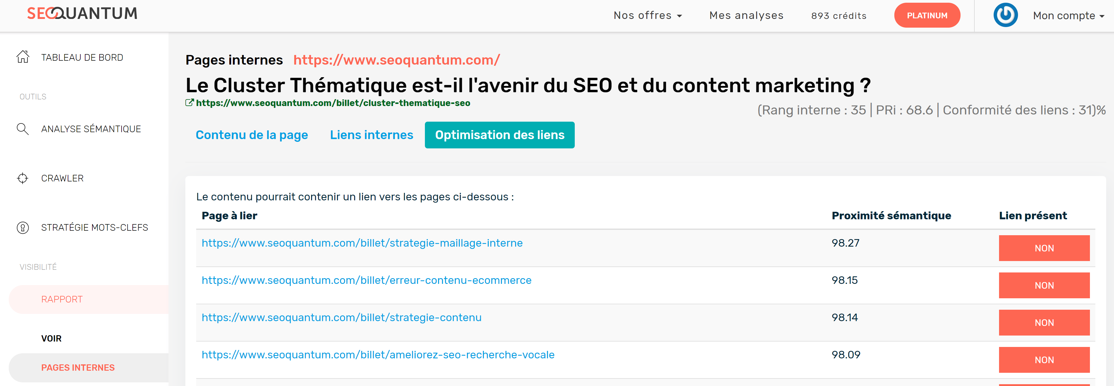 Optimisations de liens SEO