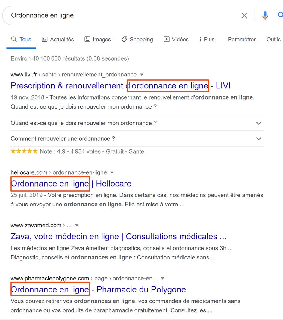 Title dans Google